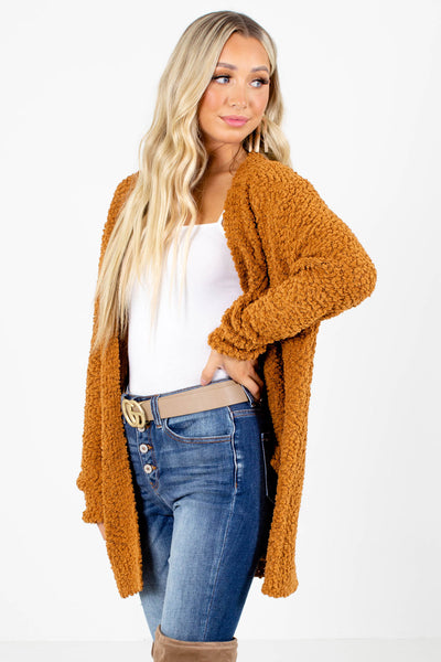 Women's Orange Long Sleeve Boutique Cardigan