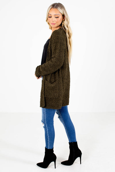 Women's Olive Layering Boutique Cardigan