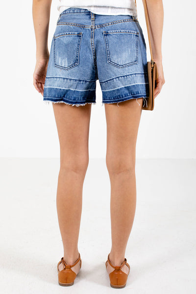 Women's Blue Boutique Shorts with Pockets