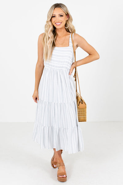 Blue and White Striped Patterned Boutique Midi Dresses for Women