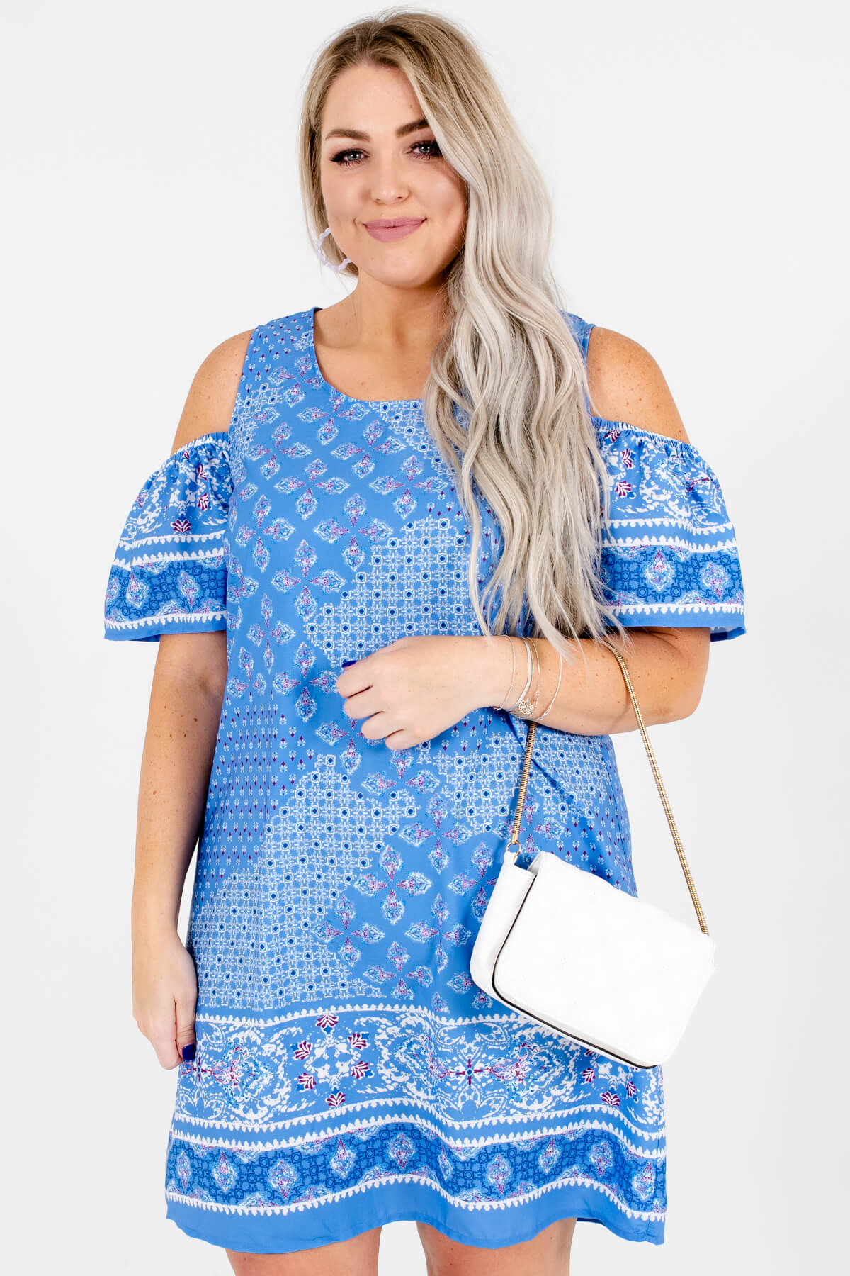 Blue Magenta White Abstract Print Cold Shoulder Plus Size Mini Dress