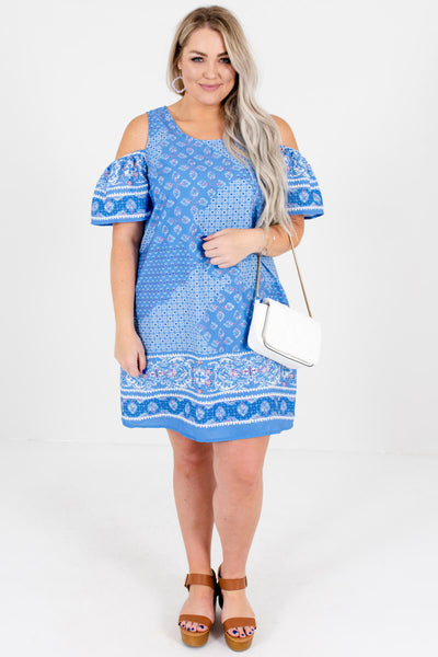 Blue Magenta Abstract Print Cold Shoulder Mini Dresses Plus Size