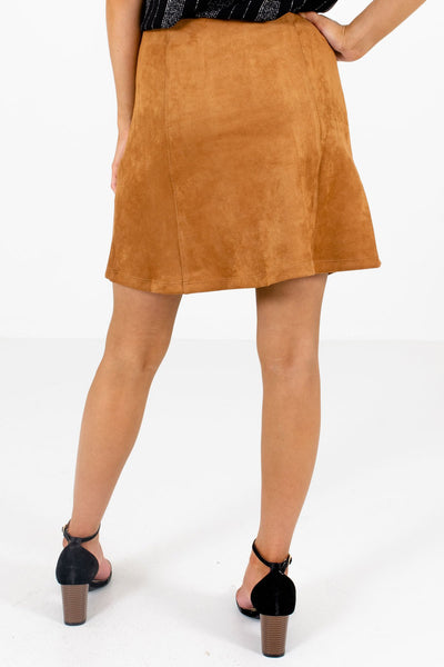Women's Camel Brown Snap Button-Up Front Boutique Mini Skirt