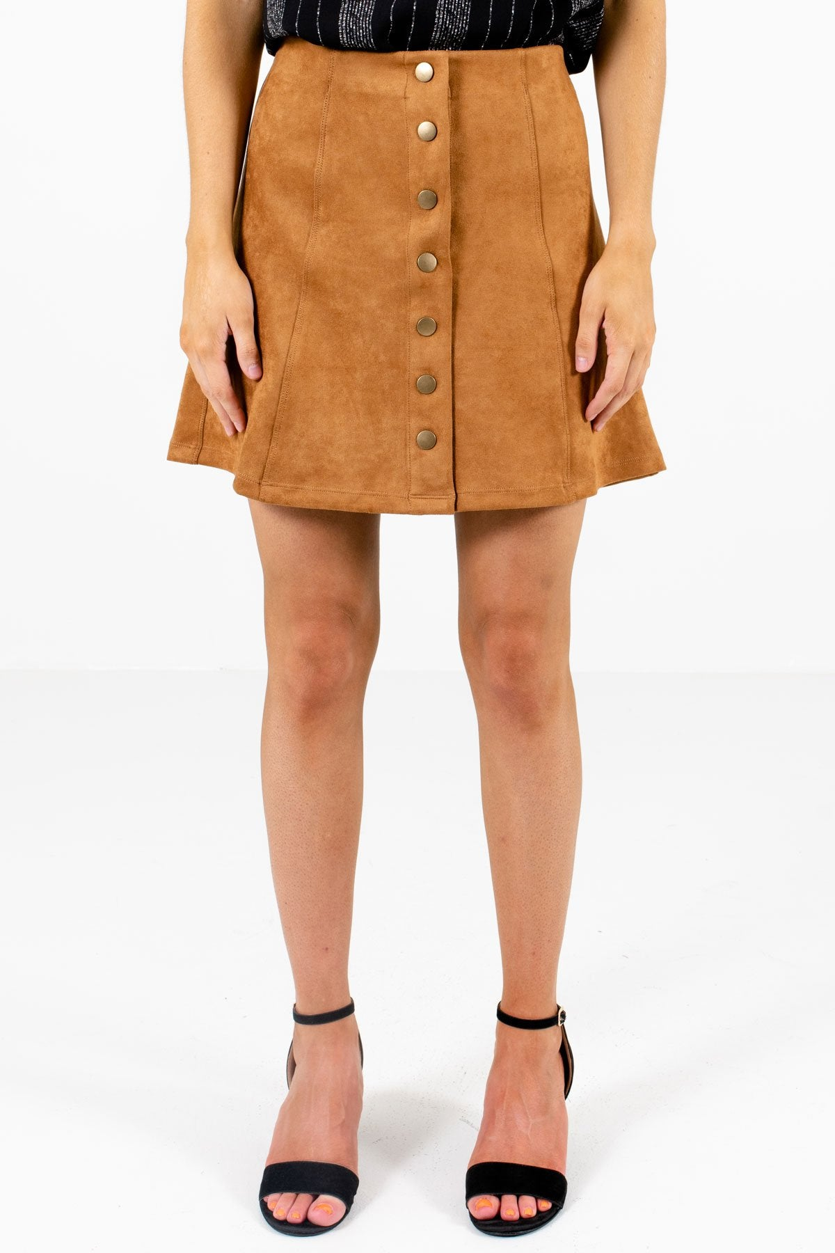 Camel Brown High-Quality Suede Material Boutique Mini Skirts for Women