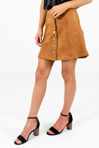 Camel Brown Golden Hardware Boutique Mini Skirts for Women
