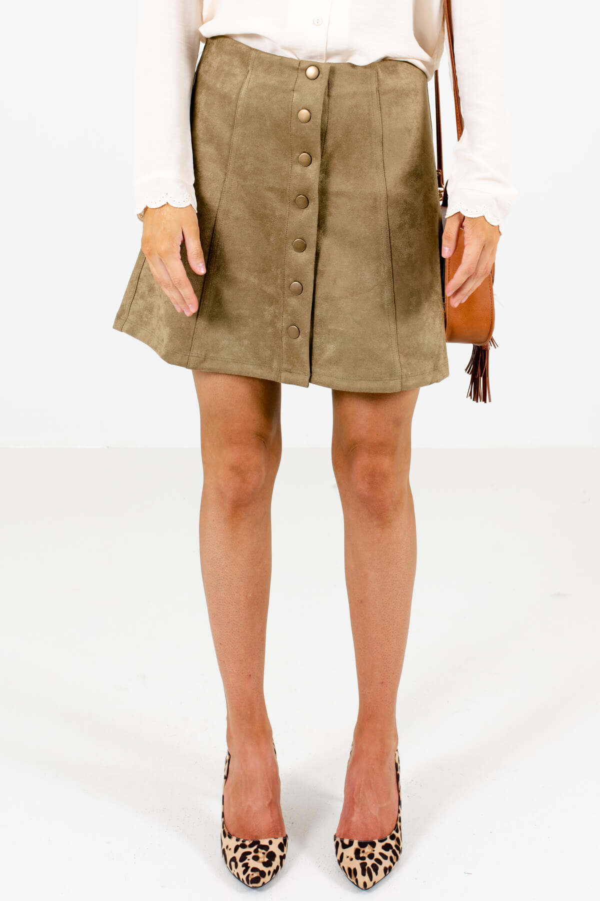 Olive Green High-Quality Suede Material Boutique Mini Skirts for Women