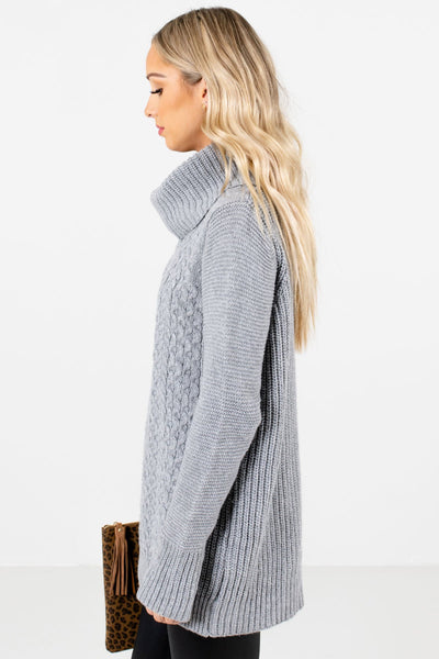 Gray Warm and Cozy Boutique Sweaters for Women