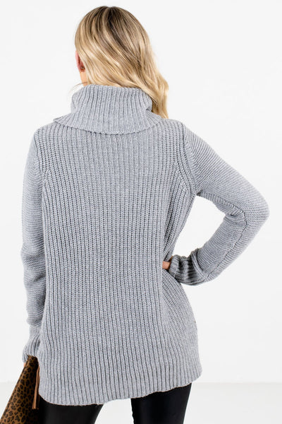 Women's Gray Cowl Neck Style Boutique Sweater