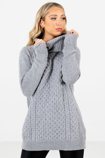 Women's Gray Cable Knit Patterned Boutique Sweater