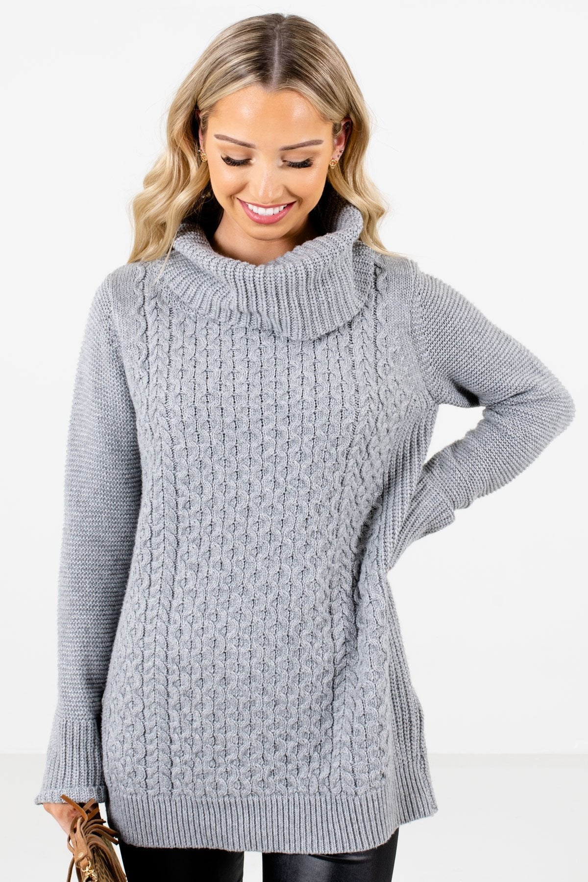 Gray High-Quality Knit Material Boutique Sweaters for Women