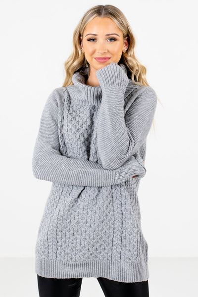 Women's Gray Long Sleeve Boutique Sweater