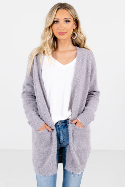 Light Gray High-Quality Fuzzy Knit Material Boutique Cardigans for Women