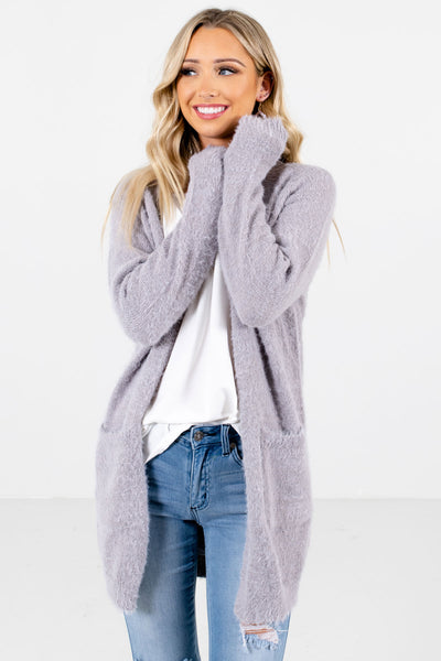 Women's Light Gray Warm and Cozy Boutique Cardigan