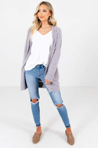 Women's Light Gray Layering Boutique Cardigans