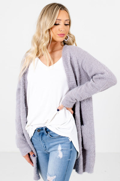 Gray Cute and Comfortable Boutique Cardigans for Women