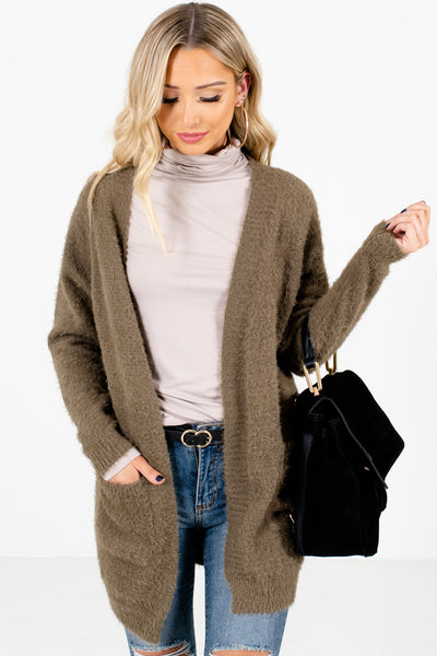 Olive Green High-Quality Fuzzy knit Material Boutique Cardigans for Women
