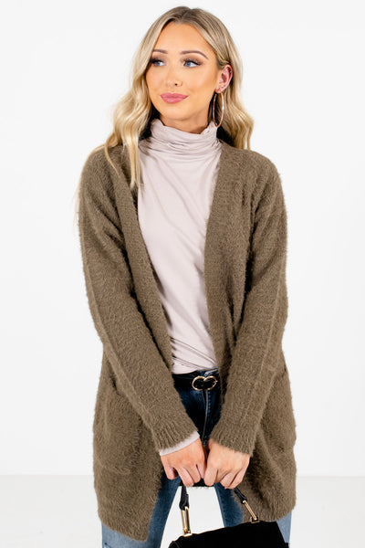 Olive Green Cute and Comfortable Boutique Cardigans for Women