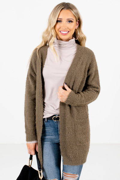 Women's Olive Green Layering Boutique Cardigan