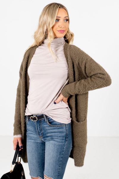 Women's Olive Green Cozy and Warm Boutique Cardigan