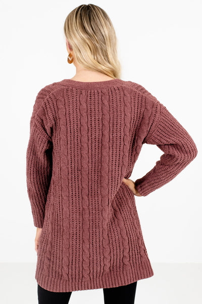 Women's Mauve Cable Knit Boutique Cardigan