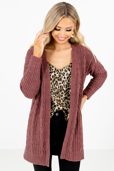 Mauve High-Quality Knit Material Boutique Cardigans for Women