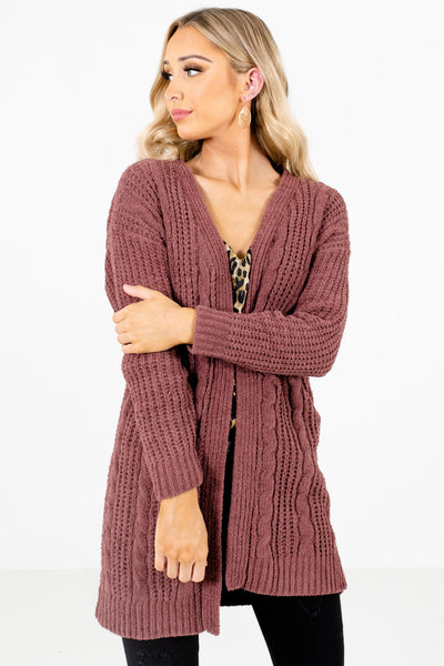 Women's Mauve Layering Boutique Cardigan