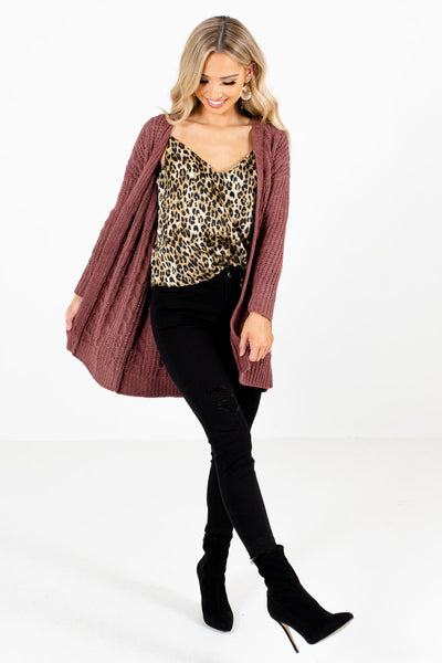 Mauve Cute and Comfortable Boutique Cardigans for Women