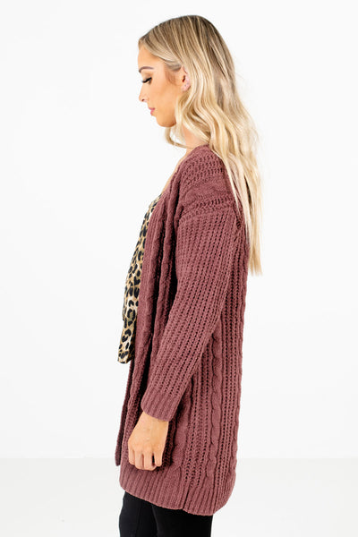 Mauve Long Sleeve Boutique Cardigans for Women