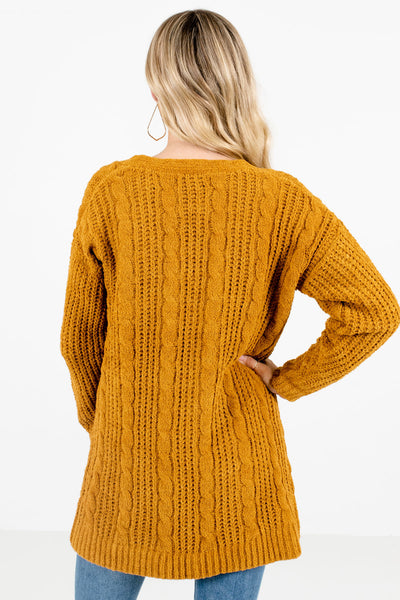 Women's Mustard Yellow Cable Knit Boutique Cardigan