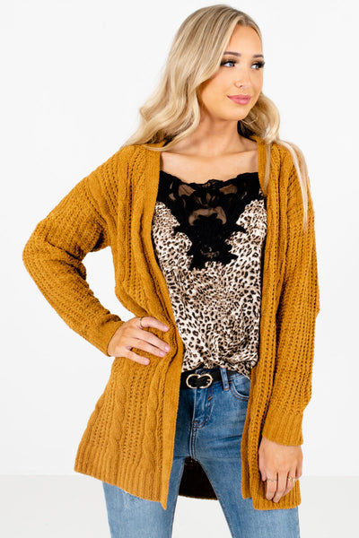 Mustard Yellow High-Quality Knit Material Boutique Cardigans for Women