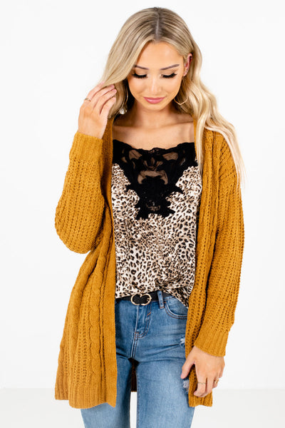 Mustard Yellow Cute and Comfortable Boutique Cardigans for Women