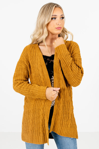 Women's Mustard Yellow Layering Boutique Cardigan