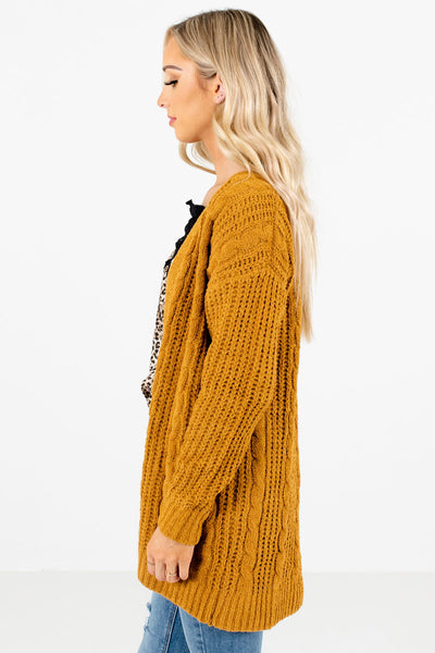 Mustard Yellow Long Sleeve Boutique Cardigans for Women