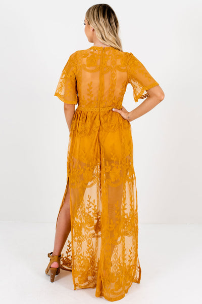 Mustard Yellow Floral Lace Overlay Cute Boutique Romper Dresses for Women