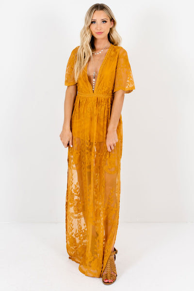 Mustard Yellow Lace Floral Romper Lining  Maxi Dresses for Women