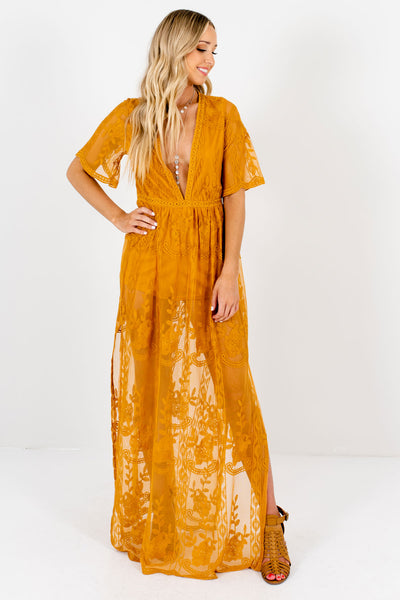 Mustard Yellow Floral Crochet Lace Overlay Maxi Length Romper Dresses