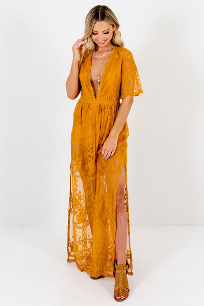Mustard Yellow Lace V Neckline Romper Dresses Affordable Online Boutique