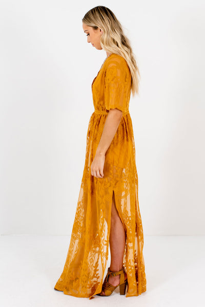 Secret Flame Mustard Lace Maxi Romper Dress