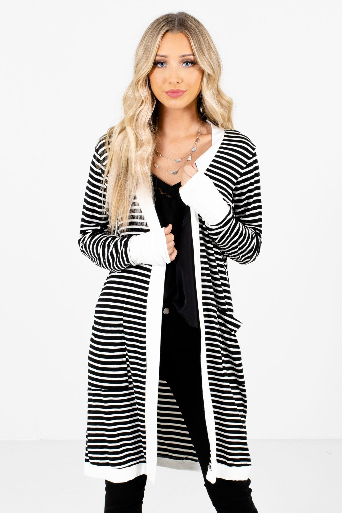 Black and White Striped Pattern Boutique Cardigans for Women