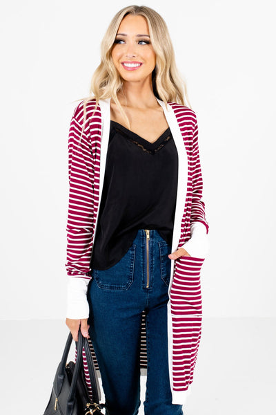 Women's Burgundy High-Quality Material Boutique Cardigan