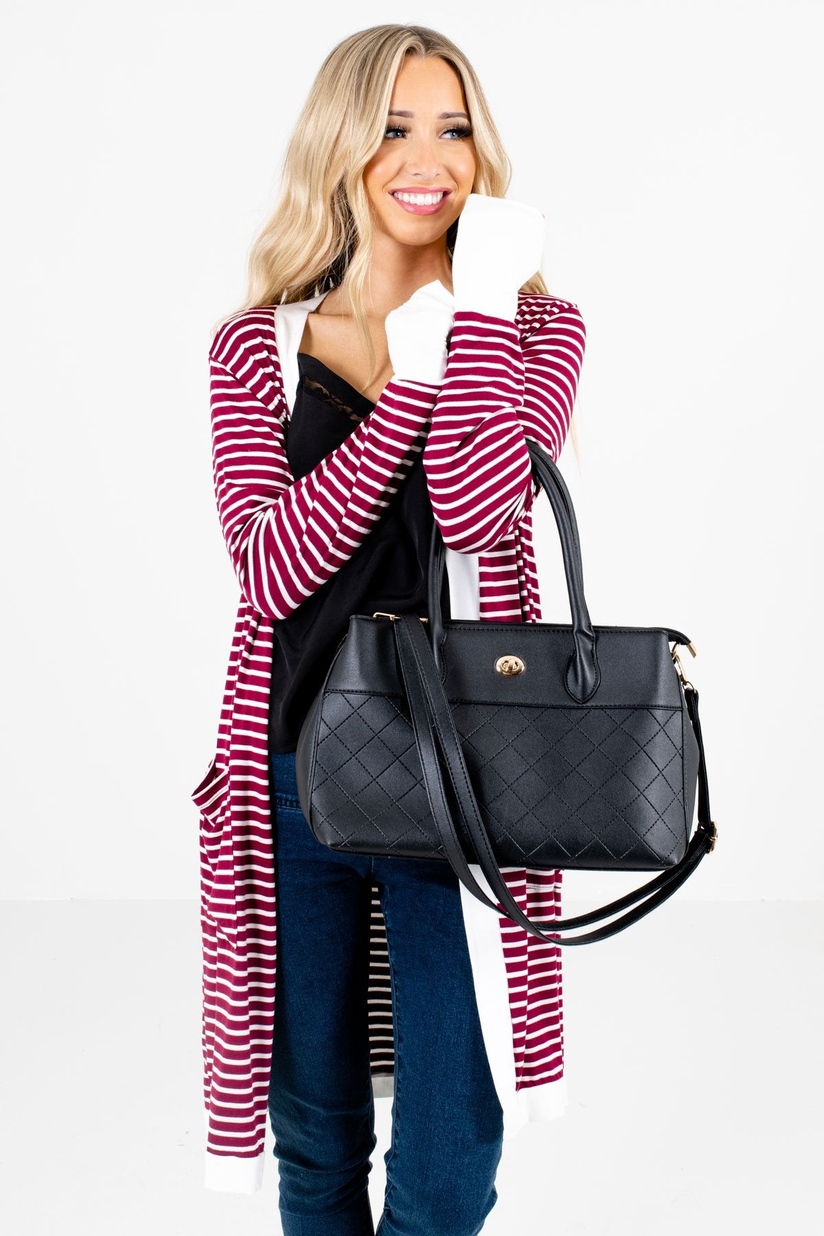 Burgundy and White Striped Pattern Boutique Cardigans for Women