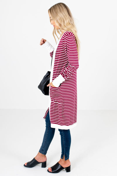 Burgundy Boutique Cardigan with Pockets for Women