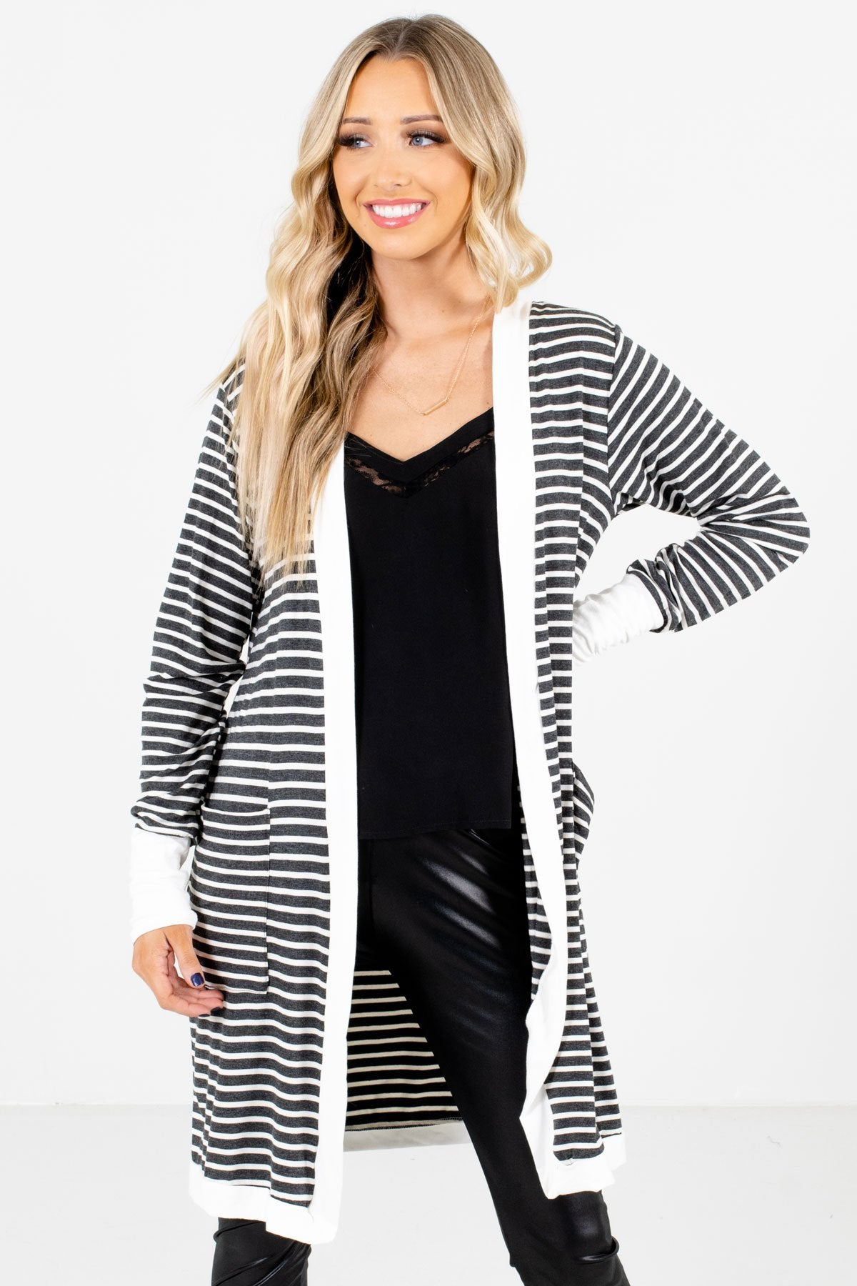 Gray and White Striped Pattern Boutique Cardigans for Women