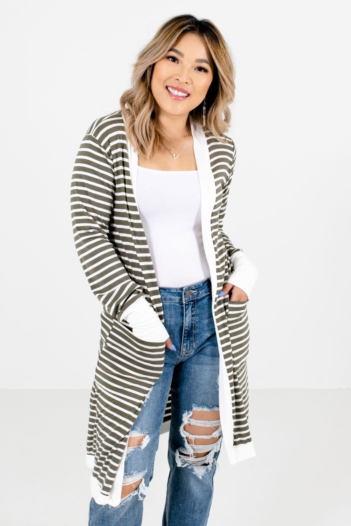 Olive and White Striped Pattern Boutique Cardigans for Women