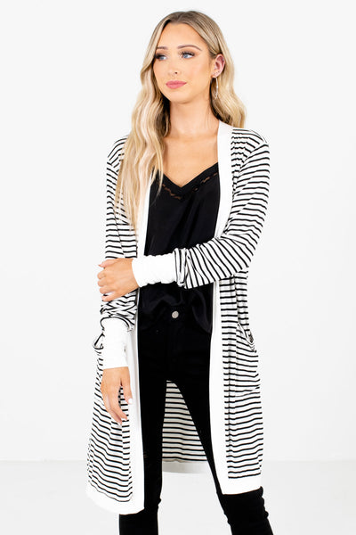 Women's White High-Quality Material Boutique Cardigan