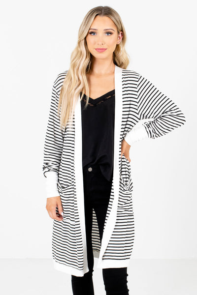 White and Black Striped Pattern Boutique Cardigans for Women