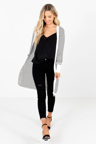 Women's White Layering Boutique Cardigan
