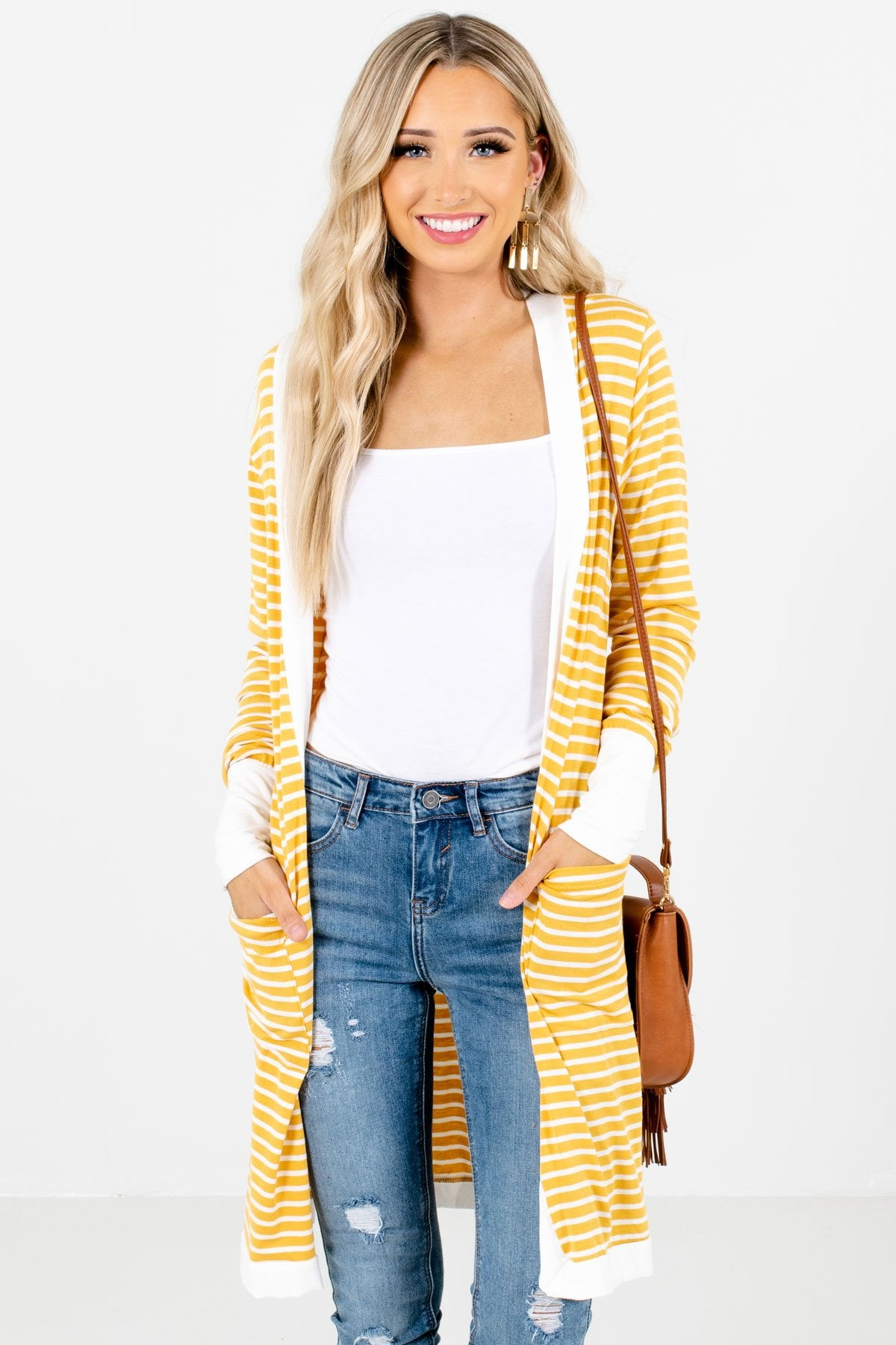 Yellow and White Striped Pattern Boutique Cardigans for Women