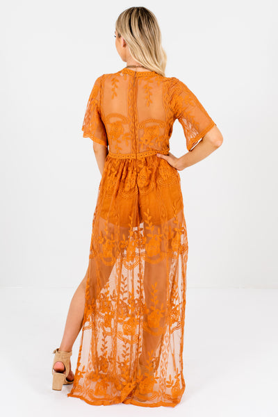 Tawny Orange Brown Floral Lace Overlay Romper Lined Maxi Dresses