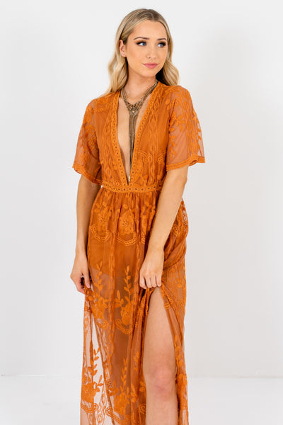 Tawny Orange Cute Floral Lace Overlay Maxi Romper Dresses Boutique